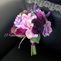 Bohemian Wedding Accessories Bridal Bouquet Romantic Purple Ramos de novia Artificial Azalea Silk Rose Flower Bridesmaid Bouquet