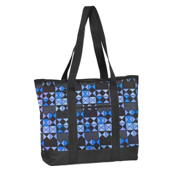 Nurse Tote Bag Blue Geo Print Zipper Closure Think Medical 94705