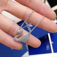 SWAROVSKI Fashion new more diamond swan necklace women Silver