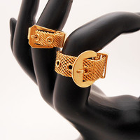 Vintage Goldtone Mesh Belt Buckle Rings- Set of 2