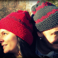 Combo...Valentine's day hat,red-grey hat,two handmade hat,slouchy hat,slouch beanie,men hat,women hat,unisex hat,winter accessories