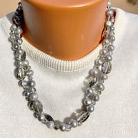 Gray Pearl and Smoky Crystal Necklace Two-strand Vintage -  Pearl and Faceted Smoky Crystal Necklace with Extension Chain