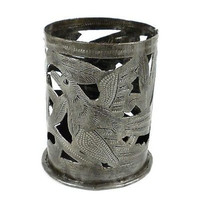 Metal Art Candle Holder - Bird Design - Croix des Bouquets (O)
