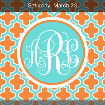iPhone Monogram Wallpaper Blue, Orange and White Quatrefoil
