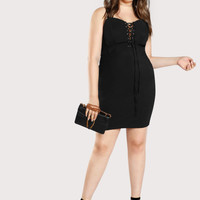 Spaghetti Strap Lace Up Dress