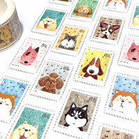 Cute dog washi Tape 5M x 2cm pet Dog street dog postage stamp pretty puppy dog mini dog sticker dog themed dog party dog diary planner gift