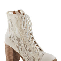 ModCloth Vintage Inspired Divine and Dash Boot in Ivory