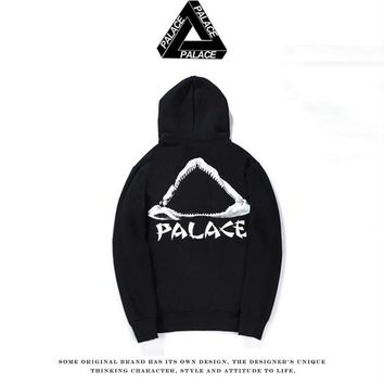 Autumn and winter tide license PALACE SKATEBOARD two-color wild plus cashmere head hooded sweater Black
