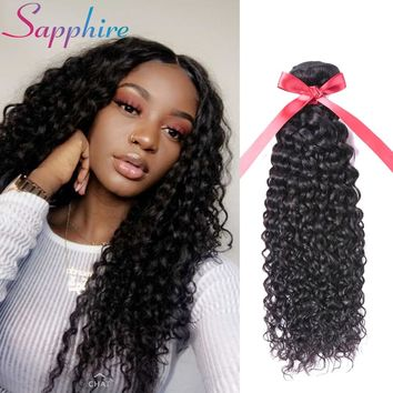 Sapphire Hair Weave Bundles Malaysian Water Wave Hair Bundles 1Pcs Natural Color None Remy Hair Extension 8-28 Free Shipping