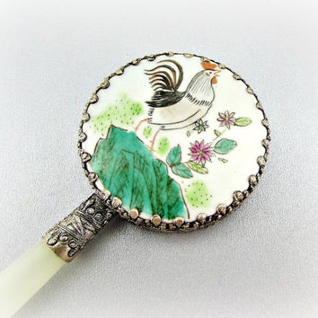Vintage ASIAN Porcelain Small Hand Mirror with Hand-Painted Rooster, Ornate Floral Flower Frame and Green Jade Handle