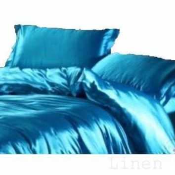 6 PC Turquoise Satin Silky Sheet Set King Size Flat Fitted Pillows 500TC New