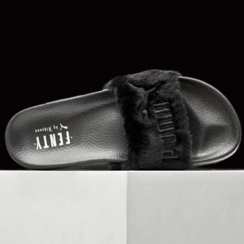"""PUMA"" Rihanna Fenty Leadcat Fur Slipper Shoes Black"