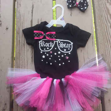 First Birthday Tutu Outfit - Rock Star  - Pink Black White Tutu and Bow Head Band - Birthday Dress