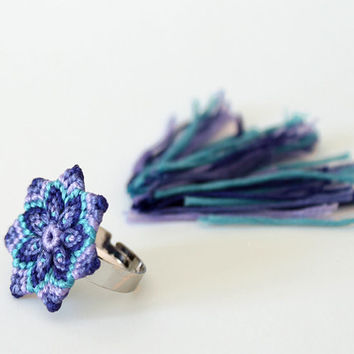 Textile macrame mandala flower statement ring blue purple