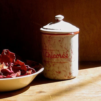 Vintage French Enamel Chicoree Canister, Red Marbled Pattern, Enamelware Chicory Spice Jar, Pantry Dry Goods, Paris Flea Market