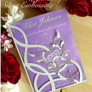butterfly laser cut wedding sweet sixteen invitation pocket butterflies party invite