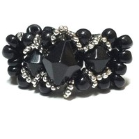 Stunning Black Swarovski Crystal Bicone Beaded Royalty Ring with Elastic Black Seed Beaded Band - $30.00 - Handmade Crafts by Lindsey Scott Artwork and Jewelry Designs