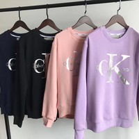 """Calvin Klein"" Fashion Silver Logo Round-neck Long Sleeve Pullover Tops Sweater"
