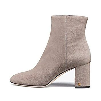 Tory Burch Brooke Suede Ankle Booties, Dust Storm