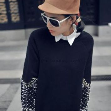 Pretty Beaded Round Neck Sweatshirt S008881
