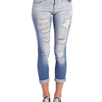 Destroyed Roll Cuff Skinny Jeans | Wet Seal