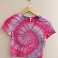 ONE OF A KIND Pink and Purple Tie Dye Swirl Crop Top