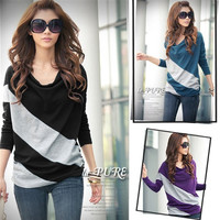 Autumn Fashion T Shirt Women Batwing Long Sleeve Stripe Cotton Casual T-Shirt Loose Ladies Top Tee Blouse Plus Size = 1946077956