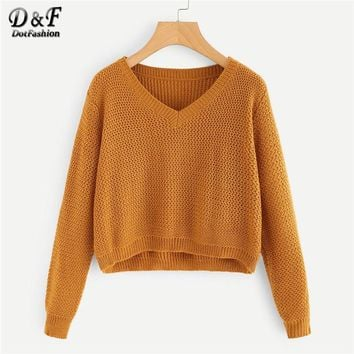 Dotfashion Camel V-Neckline Crop Jumper Women Casual Spring Autumn Plain Long Sleeve Clothing Ladies Pullovers Sweater