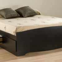 Full / Double 6 drawer Platform Storage Bed Black