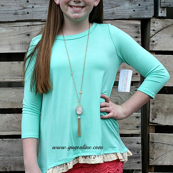 Reining Royalty Children's Blouse in Mint with Ivory Lace Back