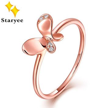 STARYEE Real 18K Rose Gold Jewelry Certified VS H 0.04CT Natural Diamond Butterfly Engagement Rings For Women Anniversary Gift