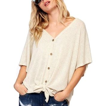 Button Down Waffle with Knot Waffle Detail Top, Oatmeal