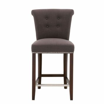 Wood Fabric Counter Stool With Button tufting And Nail head Details, Brown