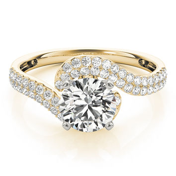 Engagement Ring -Petite Diamond Swirl Engagement Ring with Double Row in Yellow Gold-ES2094YG
