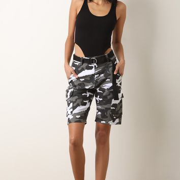 High Rise Camouflage Belted Cargo Shorts