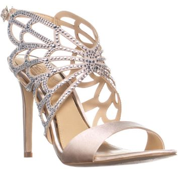 Jewel Badgley Mischka Jewel Taresa Strappy Dress Sandals, Champagne Satin, 6.5 US