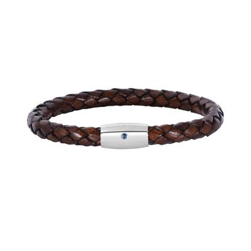 """Sterling Silver And Round Woven Brown Leather Bracelet, 8"""""""