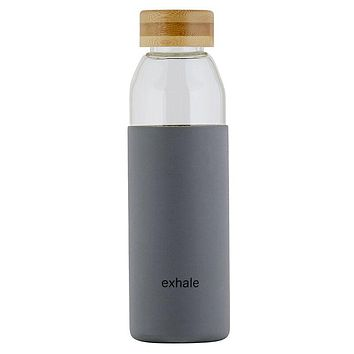 18 oz Exhale Glass Water Bottler w/ Bamboo Lid