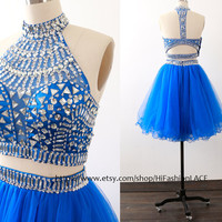 Royal Blue Mini Prom Dress,Ball Gown High Neck Short Lace Formal Dress with Open Back, Royal Blue Homecoming Dresses, Wedding Party Dress