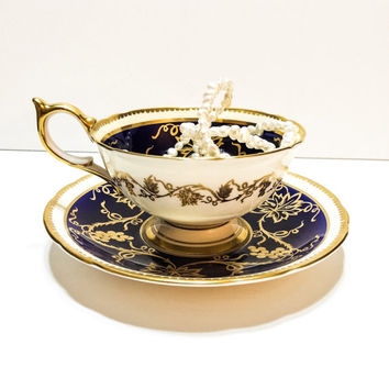 Aynsley Tea Cup and Saucer, Dark Blue Gilded Tea Cup, Ornate Grape Motif, English Bone China, 1950s, Vintage