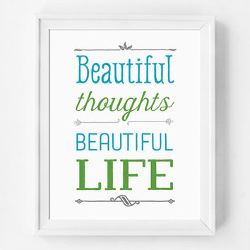 Beautiful Life Art Print, Shabby Chic Home Decor, Inspirational Print, Happy Art, Quote Poster, Handwritten Rustic Style Quote Print