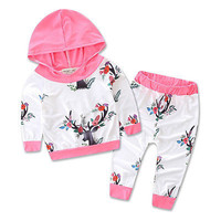 2016 Autumn style infant clothes baby clothing sets Baby Girls Floral Clothes Hoodie Coat Tops+Pants Leggings Outfits Set
