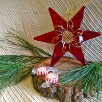 Handmade Christmas Ornament - Glass Star  / Suncatcher - Ruby Red Glass with Red accent beads