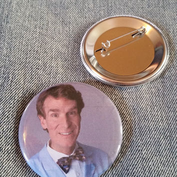 retro style Bill Nye the Science Guy pin 2-1/4inch pinback button hand pressed badges 80s 1980s 90s 1990s buttons