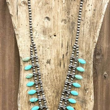 Necklace - Night Like This Faux Turquoise Squash Blossom