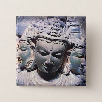 Antique Asian stone faces statue carving photo Pinback Button