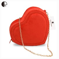 New Women Fashion Candy Color Loved Hearts shape Messenger Bags Vintage Casual Lady Solid Velour Single Chains Handbags