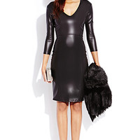 Sleek Faux Leather Midi Dress