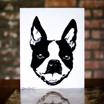 Boston Terrier Painting - Black and White Dog Wall Art Pet Painting - Original Artwork on 8x10 Art Board