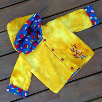 Children's Jacket Hoodie, Handmade, Flannel lined, Fleece Baby Hoodie, Children's Jacket Size 1